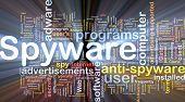 Ilustração de wordcloud de conceito de fundo de luz brilhante de spyware