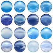 3d blue glass spheres collection or set isolated on white background,ideal for 3D symbols, signs or web buttons. It is a sphere reflecting a blue sky with clouds