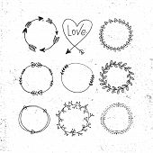 Arrows, Hearts, Ornament - Handdrawn Wedding Decor Elements In Boho Style. Vector Collection. poster