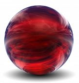 High resolution 3D red glass sphere with shadow isolated on white, reflecting a sky with clouds