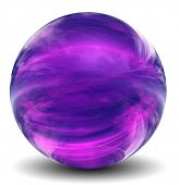 High resolution 3D violet or purple glass sphere with shadow isolated on white, reflecting a sky with clouds