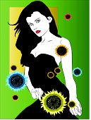 Woman With Black Dress With Sunflower