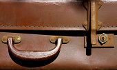 Old Leather Suitcase With Handle And Lock