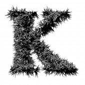 foto of letter k  - High resolution 3D black and white font isolated on white background - JPG