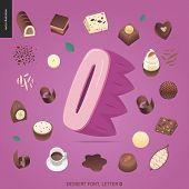 Dessert Font - Letter O - Modern Flat Vector Concept Digital Illustration Of Temptation Font, Sweet  poster