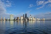 Miami, Florida 11-24-2018 The Skyline Of The City Of Miami, Florida, Reflected In The Calm Water Of  poster