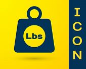 Blue Weight Pounds Icon Isolated On Yellow Background. Pounds Weight Block For Weight Lifting And Sc poster