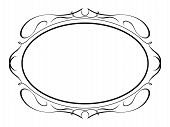 stock photo of oval  - Vector oval calligraphy ornamental penmanship decorative frame - JPG
