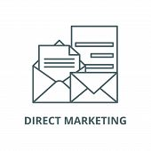 Direct Marketing Line Icon, Vector. Direct Marketing Outline Sign, Concept Symbol, Flat Illustration poster