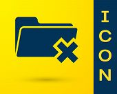 Blue Delete Folder Icon Isolated On Yellow Background. Folder With Recycle Bin. Delete Or Error Fold poster