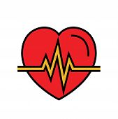 Heartbeat Icon. Automated External Defibrillator Symbol. Simple Vector Graphic poster