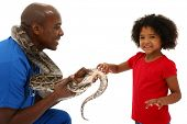 Vet and Preschool Child Snake Owner Helping Pet Over White Background