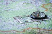 Compass On Paper Orienteering Map. Topography, Cartography And Geography. poster