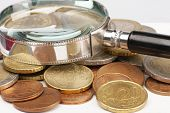 Pile Of Euro Coins Isolated On White Background. Selective Focus poster