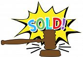 Online auction bid gavel hits stand to end sale in SOLD cartoon style icon