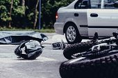 Motorcycle Helmet On The Street After Terrible Car Crash, Black Bag With Corpse And Car With Open Do poster