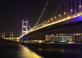 foto of tsing ma bridge  - Tsing Ma Bridge at night - JPG