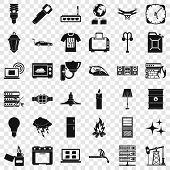Strong Electricity Icons Set. Simple Style Of 36 Strong Electricity Vector Icons For Web For Any Des poster
