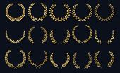 Golden Laurel Wreath. Realistic Crown, Leaf Shapes Winner Prize, Foliate Crest 3d Emblems. Vector Gr poster