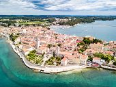 Croatian Town Of Porec, Shore Of Blue Azure Turquoise Adriatic Sea, Istrian Peninsula, Croatia. Bell poster