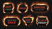 Realistic Fire Labels. Hot Deal And Sale Offer Text Banners With Shiny Flame Effect, Isolated Design poster