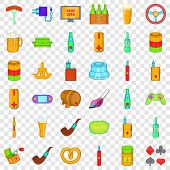 Adult Habit Icons Set. Cartoon Style Of 36 Adult Habit Icons For Web For Any Design poster