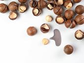Set Of Macadamia Nuts And Nut Cracker Sheller On White Background. Set Of Macadamia Nuts - Whole Uns poster