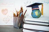 Education Graduate Study Concept: Graduation Hat On Pencils With Formula Arithmetic Equation Graph O poster
