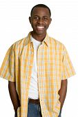 pic of black face  - Happy young African American man smiling broadly - JPG