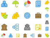 Conjunto de iconos de negocios plana. Hacer es no usar gradiente. Fácil cambio de color. Apuesto en tamaño pequeño.