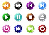 An illustrasion set of simple media buttons icons for your website, application, or presentation.  G