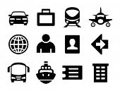 Set of simple travel icons.