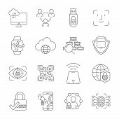 Personal Data Protection Icons, Secure Account Login, User Interface Login, Face Recognition, Site A poster