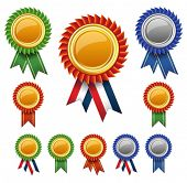 stock photo of rosette  - Blank award ribbon rosettes - JPG