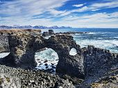 Gatklettur Arch Rock At Hellnar, Near Arnarstapi On The Snaefellsnes Peninsula In Western Iceland. poster