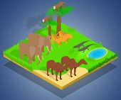 Creature Concept Banner. Isometric Banner Of Creature Concept For Web, Giftcard And Postcard poster