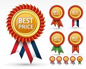 Sign best price, product, saller and choice award or Vector label