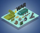 War Way Concept Banner. Isometric Banner Of War Way Concept For Web, Giftcard And Postcard poster