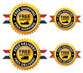Free shipping or delivery medals, sign, icon, button, label