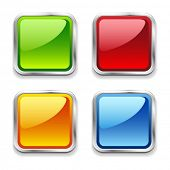 Bright shiny metal square web buttons, red, blue, green, orange