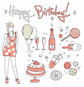 pic of birthday-cake  - Birthday Vector illustration of a cute birthday girl - JPG