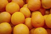 Fresh Mandarin Oranges Texture. Fresh Oranges Lying On The Counter - Orange And Tangerine Texture Wi poster
