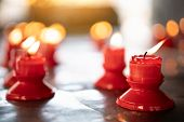 Red Candle On Table In Chinese Buddhist Temple For Renew Life Or Navigate Life In Chinese Temple In  poster