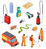 Pest Control Isometric. Insect Fumigation Rodent Poison Exterminator Specialist 3d Sanitary Disinfec poster