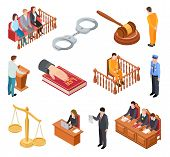 Isometric Court Of Law. Trials Defendant Witness Interrogation Jury Judge Justice Accused Lawyer Cri poster