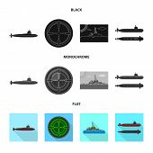 Vector Design Of War  And Ship Symbol. Collection Of War  And Fleet Stock Symbol For Web. poster