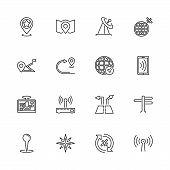 Satelite Navigation, Gps Outline Icons Set - Black Symbol On White Background. Satelite Navigation,  poster