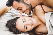 Happy Romantic Couple Having Sex - Young Lovers During Foreplay Having Tender And Intimate Moments I poster