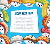 Horizontal Cartoon Frame With Funny Sushi On Blue Background. Template For Advertising Brochure With poster