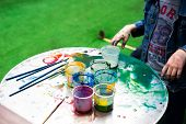 Outdoors Kinder Garden Children Draw With Paints. Active Leisure Time For Kids. Having Fun poster